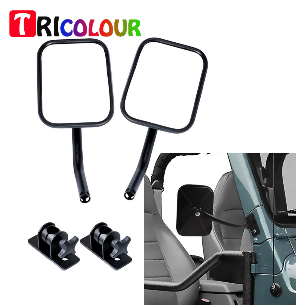 TRICOLOUR 2x Door Off Mirrors Rectangular Quick Release Mirrors with Adjustable Arms For Jeep Wrangler TJ JK LJ 1997-2017 #LQ469