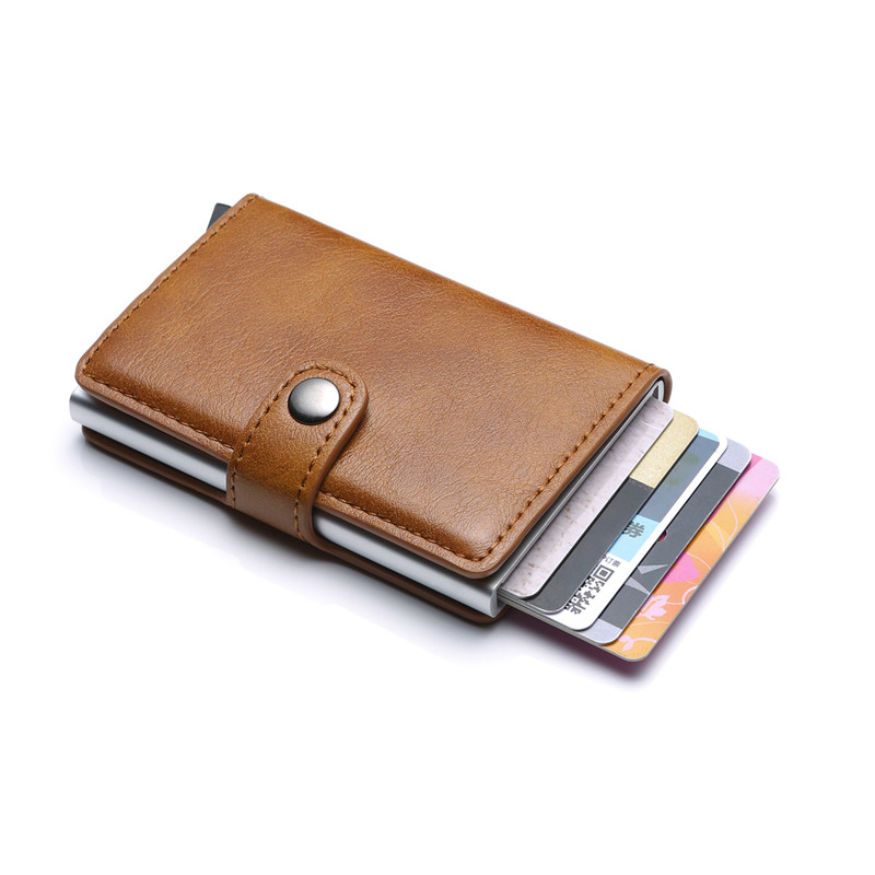 New Men Double Aluminum Cow Leather Travel Card Wallet Rfid Credit Card Holder Pu Leather Unisex Security Metal Smart Purse 486 Convenience Goods Back To Search Resultsluggage & Bags