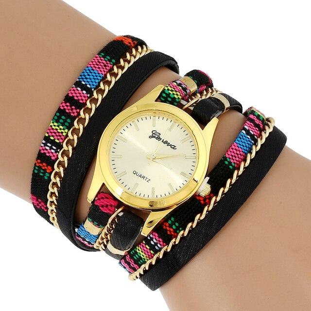 58b481b839a5 Gnova Platinum mujeres reloj étnico indio peruano oro pulsera reloj moda  reloj párr dama reloj de