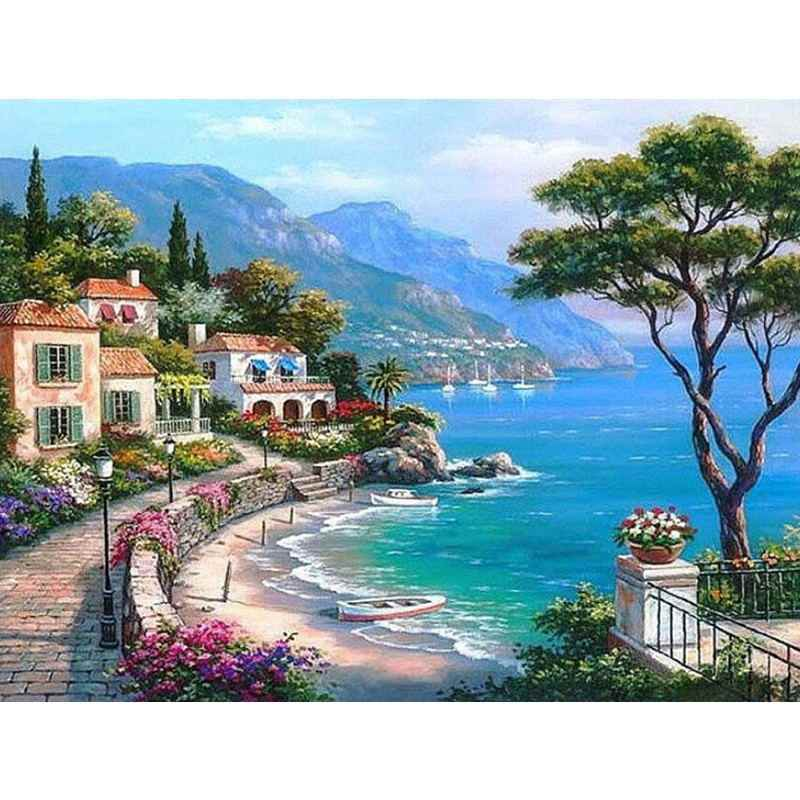 Landscape Framed Pictures DIY Painting By Numbers Wall Art Acrylic Painting On Canvas Drop Shipping For Wedding Decor G311