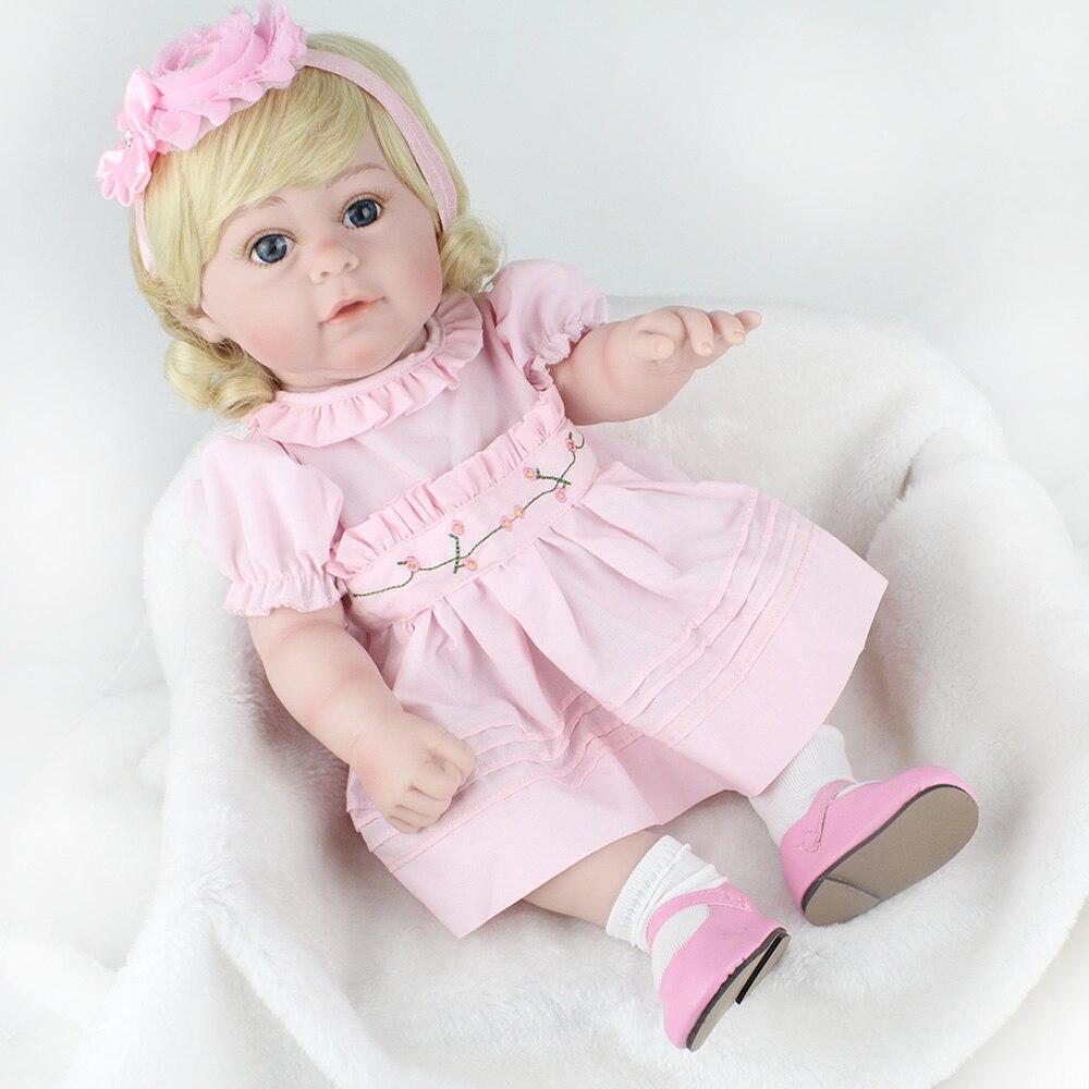 17 ''boucles d'or Reborn bébé poupées fille corps Silicone réaliste gros yeux bébé poupée jouet pour enfants anniversaire bebe cadeaux réel vivant