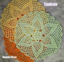 Modern round cotton placemat cup coaster mug kitchen Christmas table place mat cloth lace Crochet tea coffee doily dining pad
