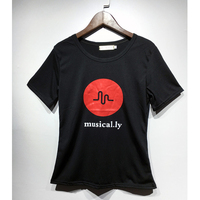 Women Fashion Mickey Character Musical Ly Print Tops T Shirt Black White Color Female Shirts With