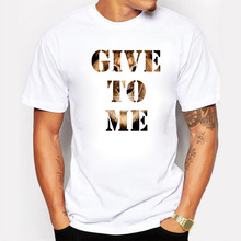 New Arrival Men's GIve To Me Tiger Background Printed Design T shirt Cool Tops Short Sleeve Hipster Novelty Animal Tees