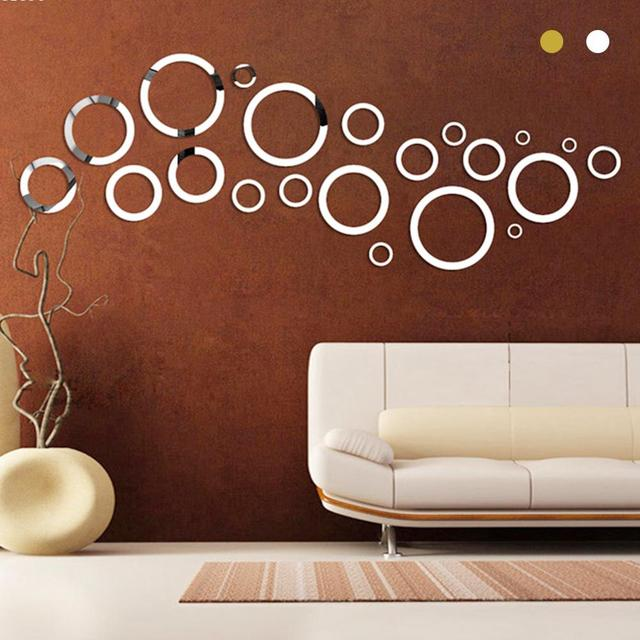 Gold Silver Round Circles Wall Mirror Acrylic Mirror Decorative Wall  Stickers 3D Home Wall Art Decals