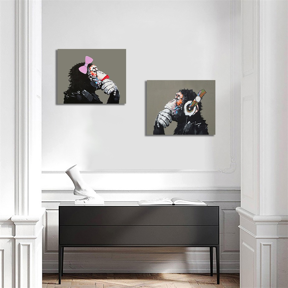 Laeacco Canvas Paintings on the Wall Modern DJ Monkey Animal Posters and Prints Artwork Nordic Living Room Home Decoration