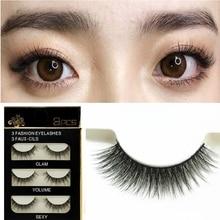 3 pairs smoky Makeup Handmade Thick volume 3D False Eyelashes Extension Natural Long Full Strip fake Eye Lashes nightclub party