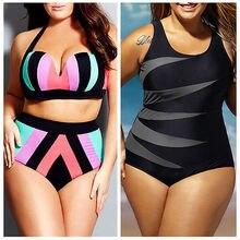 aa4d4446773b40 2019 neue Plus Größe Frauen Hohe Taille Push-up Bikini set Gestreifte  Bademode Strand Badeanzug Große Badeanzug XL XXL XXXL .
