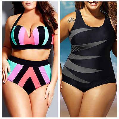 2019 New Plus Size Womens High Waist Push up Bikini set Striped Swimwear Beach Bathing Suit Large Swimsuit XL XXL XXXL XXXXL