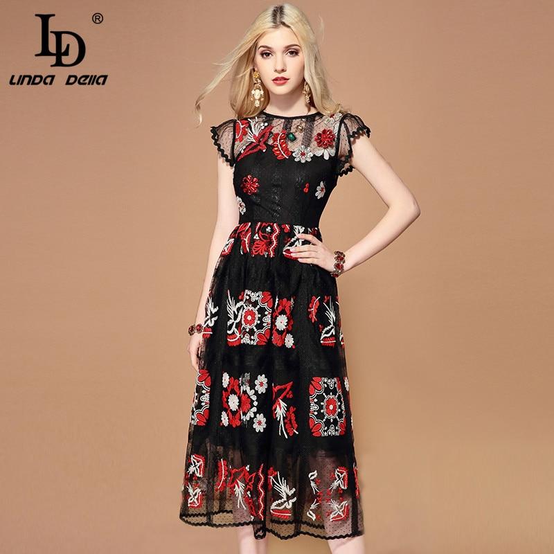LD LINDA DELLA Summer Fashion Runway Black Mesh Dress Women s Gorgeous Crystal Beading Embroidery Midi