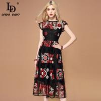 LD LINDA DELLA Summer Fashion Runway Black Mesh Dress Women's Gorgeous Crystal Beading Embroidery Midi Vintage Dress vestidos