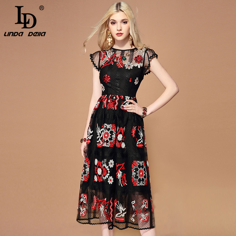 LD LINDA DELLA Summer Fashion Runway Black Mesh Dress Women's Gorgeous Crystal Beading Embroidery Midi Vintage Dress Vestidos