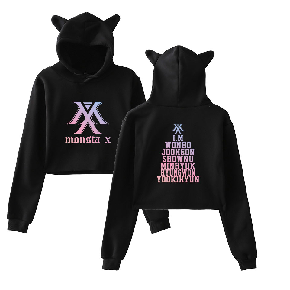 MONSTA X Sweatshirts Cool And Funny Cat Ear Cropped Short Sweatshirts Hooded Kpop Print Pullover Women Tops Coat