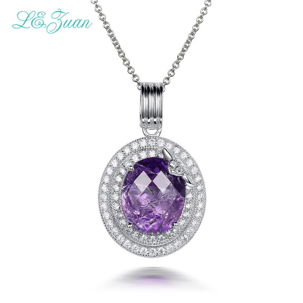 I&zuan 4.86ct Natural Amethyst Pendants 100% 925 Sterling-Silver-Jewelry Cluster Gmestone Luxury Pendant Necklace For Women цена и фото
