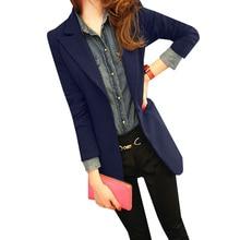 Новый Осень Slim Fit Для женщин Блейзер костюм женский Повседневное пальто с длинным рукавом одной кнопки пиджаки офисные Пиджаки для женщин Feminino AB355