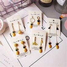 Korea Handmade Cute Paint Asymmetry Fruit Pineapple Women Drop Earring Fashion Jewelry Accessories-JQD5