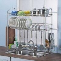 Stainless Steel Bowl Rack Sink Drain Rack Kitchen Shelves Sink Basin Rack 2 Floors Large Home Seasoning Holder Organizer Silver