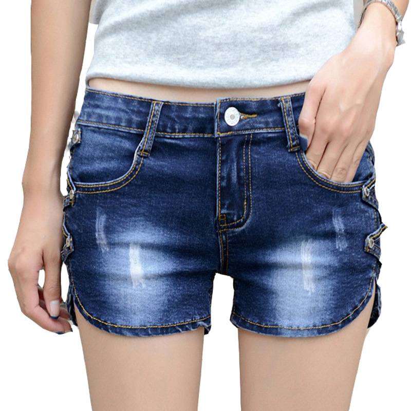 HMCHIME women cotton denim shorts package hip bleached sequined high quality fashion sexy all match slim women short jeans G47