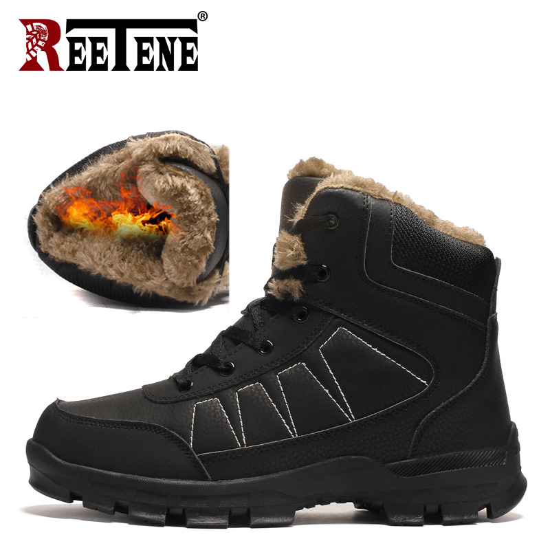 REETENE 2018 Warm Winter Men Boots For Men Winter Snow Boots High Quality Cow Suede Work Shoes Men Footwear Ankle Shoes 39-47 цена