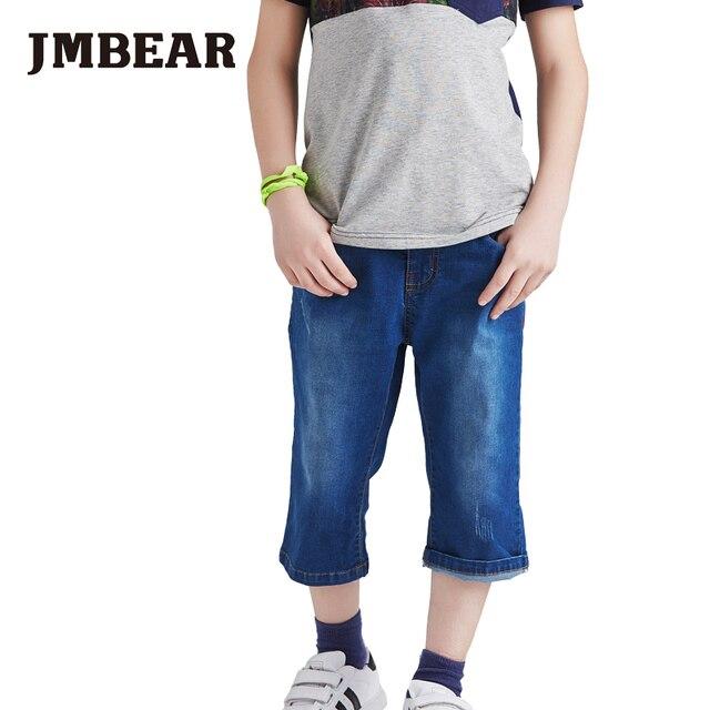 JMBEAR мальчиков джинсы щиколотки брюки для детей сломанный отверстия дизайн брюки 2016 детские детская одежда мода твердые pattern