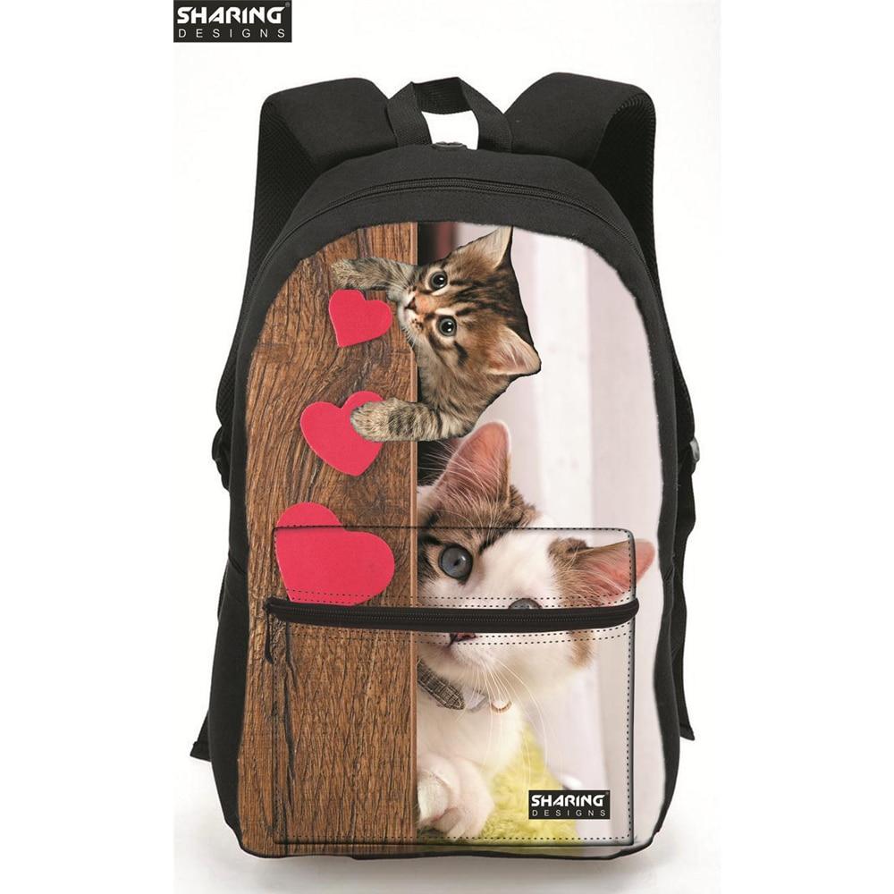 9ce2e18e ᗚОбъёмный рисунок (3D-принт) милый кот женщин Холст Школьные сумки ...