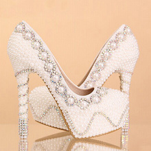 Nicest Pearl High Heel wedding shoes Rhinestone Crystal bridal shoes wedding shoes 35-39 Lady Fashion Shoes Christmas Gift