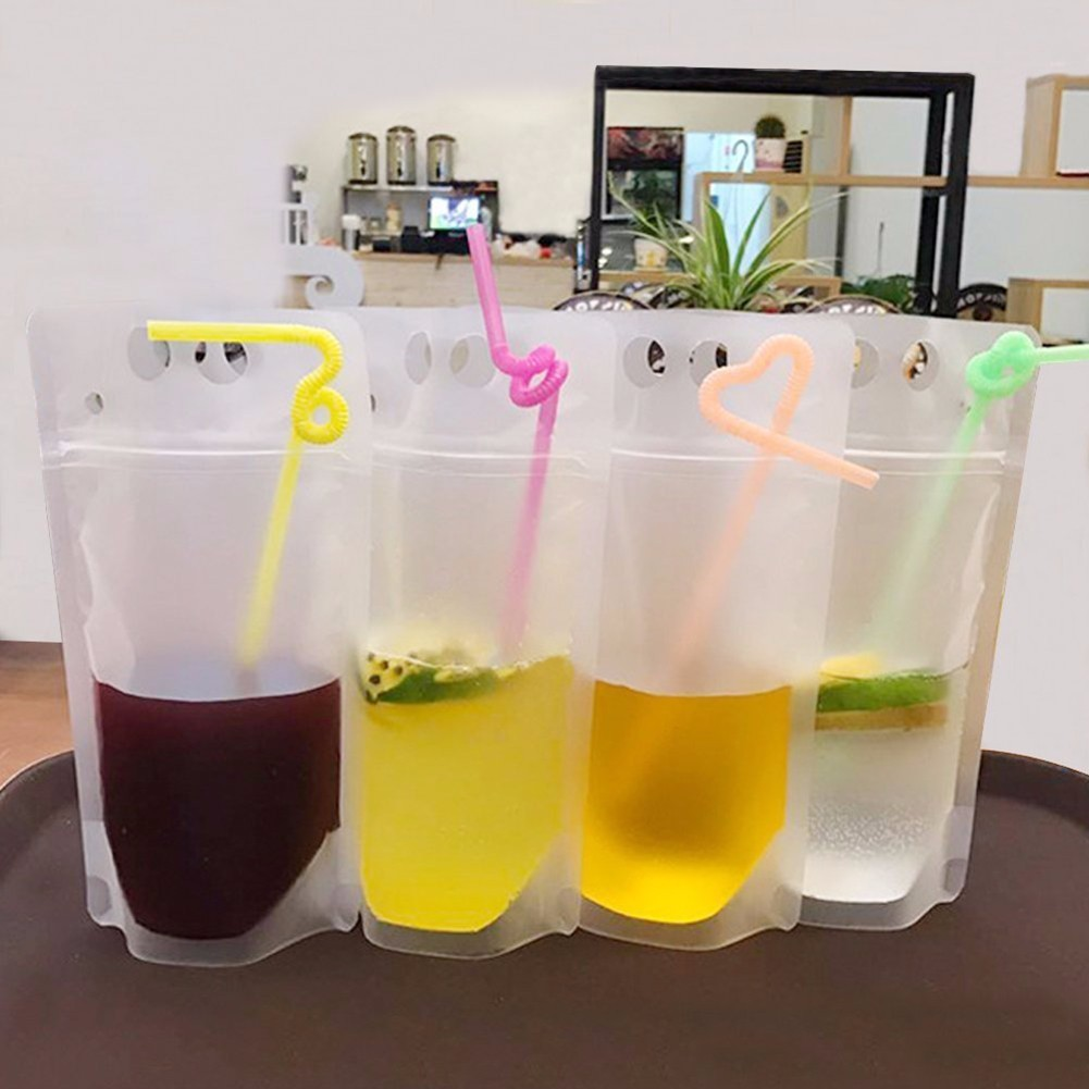 20Pcs/Lot 500ml Cold Beverages Ziplock Bag Tea Bags Transparent And Frosted Drink Bag Freezing -80 degrees Ice Bag