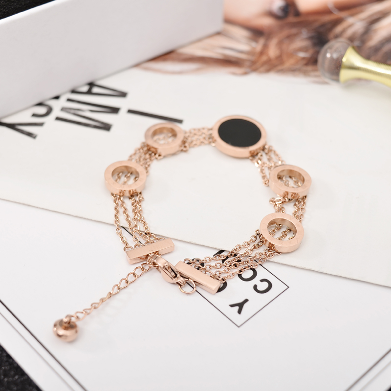 YUN RUO Fashion Black Round Letter Bracelet Woman Chain Gift Rose Gold Color Stainless Steel Jewelry Never Fade Drop shopping in Chain Link Bracelets from Jewelry Accessories