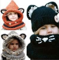 New Arrival Baby Hats Caps Cat Ear Fox Shaped Kids Bomber Hats Shawl Winter Children Hats
