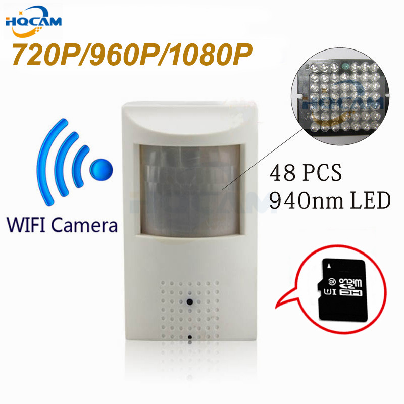 HQCAM WIFI and TF Slot 720P 960P 1080P PIR Style Indoor Onvif Wired and Wireless IP Camera Invisible 940nm IR LED Built-in MIC