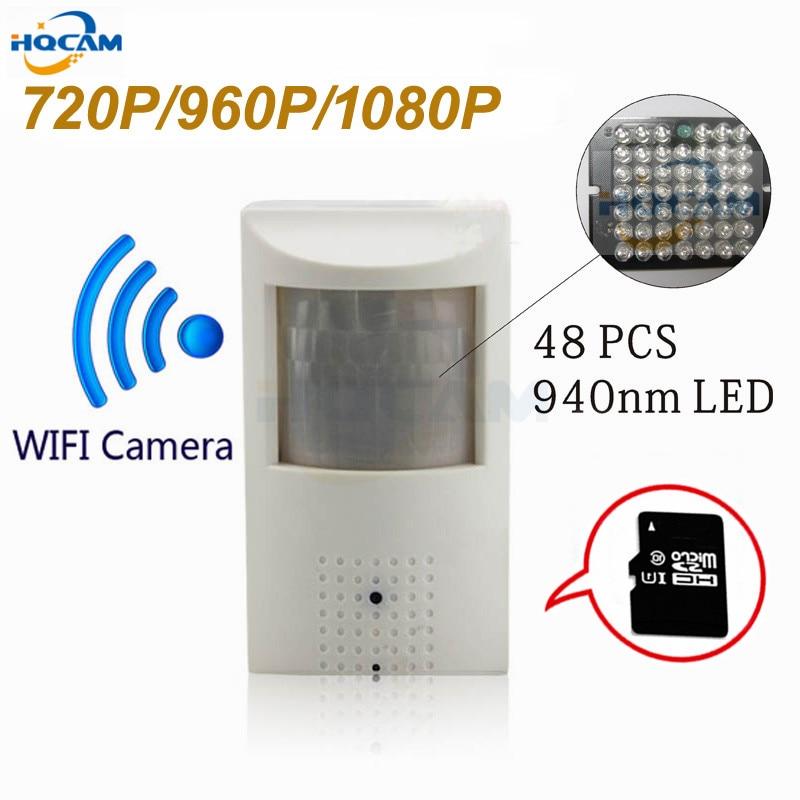 HQCAM WIFI et TF Slot 720 P 960 P 1080 P PIR Style Intérieur Onvif Filaire et Sans Fil IP Caméra Invisible 940nm IR LED Intégré MIC
