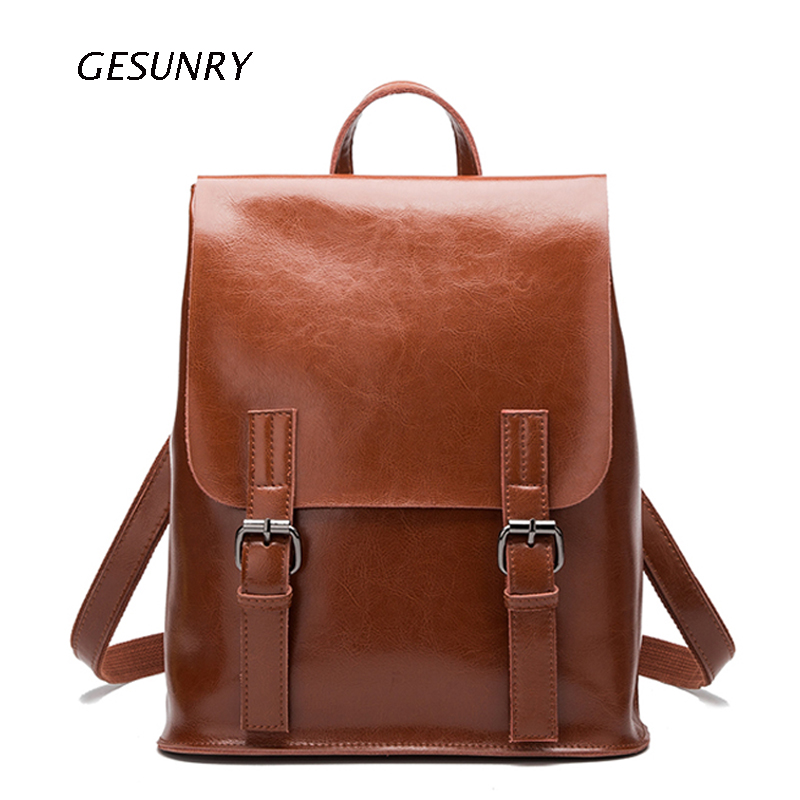 Fashion Designer Genuine Leather Women Backpack Drawstring School Bags For Teenagers Girls Female Travel BackPack