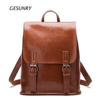 Fashion Designer Genuine Leather Women Backpack Drawstring School Bags For Teenagers Girls Female Travel BackPack