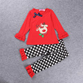 Spring Autumn Clothing Sets Girls 2 pieces sets Baby Girl Christmas Clothes Kids Red Tops+Point Pants Outfits Boutique Clothing