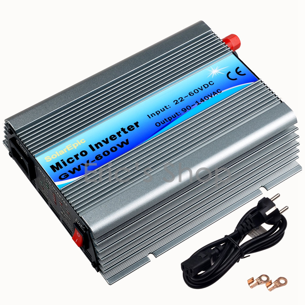 600W Grid Tie Inverter DC22V-60V to AC110V Pure Sine Wave Inverter Use For 24V/36V 60cells/72cells panel With MPPT Function 22 50v dc to ac110v or 220v waterproof 1200w grid tie mppt micro inverter with wireless communication function for 36v pv system