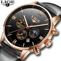 LIGE Men Watches Luxury Brand Multi Function Mens Sport Quartz Watch Man Waterproof Leather Business Clock