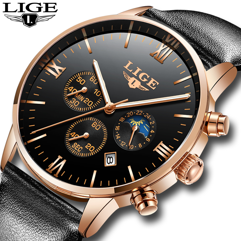 Lige men watches luxury brand multi function mens sport quartz watch man waterproof leather for Lige watches