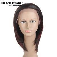 Black Pearl Short Straight Bob Human Hair Wigs For Black Women Black Mix Wine Red Bob
