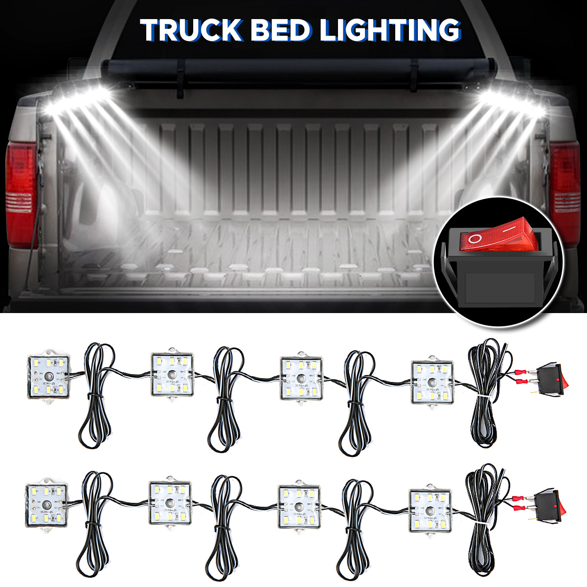 Lighting-Kit Trunk-Light All-Pick-Up Truck-Bed/rear-Work-Box 12V for White 48LED 8W DC