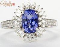 3500 SOLID 18kt WHITE GOLD FULL CTU DIAMOND NATURAL TANZANITE Engagement RING
