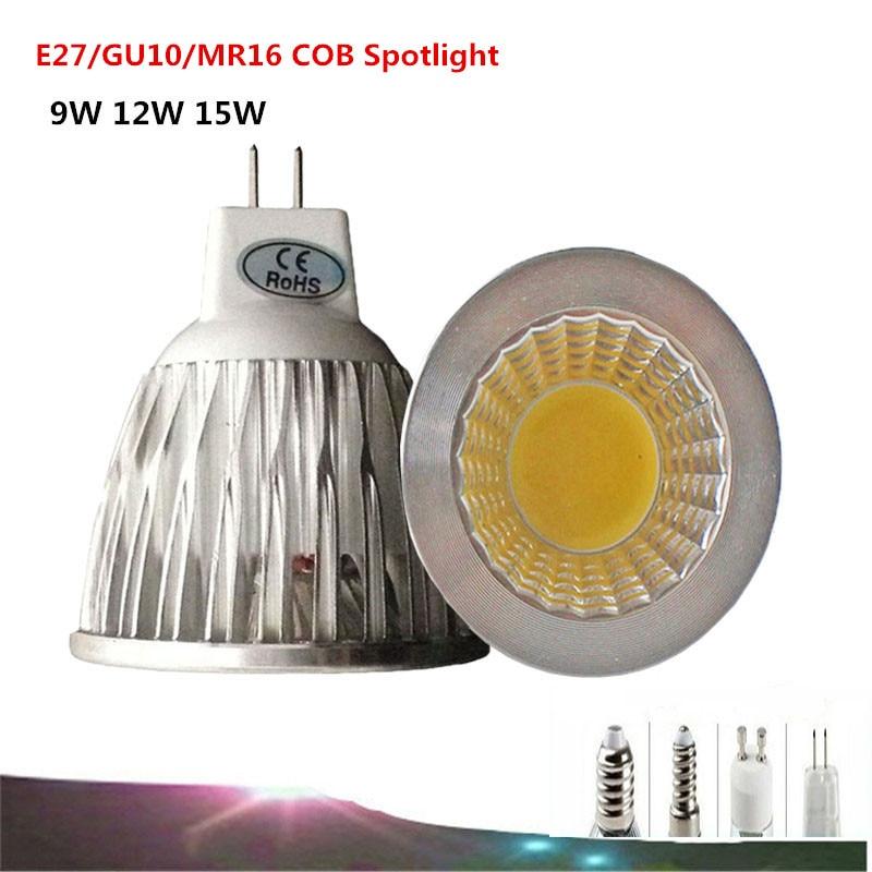 1PCS <font><b>E27</b></font>/GU10/MR16 COB <font><b>LED</b></font> Bulb 9W 12w 15w <font><b>12V</b></font>/110V/220V /85-265V COB Spot Light <font><b>LED</b></font> Lamp White/Warm White <font><b>LED</b></font> Light