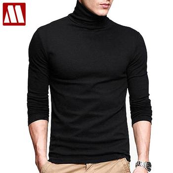 2018 New Men fashion t shirt tees Slim Tops Male stretch t-shirt turtleneck long sleeve Tee Shirts High collar Men's cotton Tees