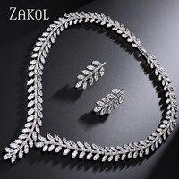 ZAKOL Exclusive White 18K Gold Princess Wedding Jewlery Set With AAA Cubic Zircon For Women High