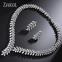 ZAKOL Exclusive White 18K Gold Princess Wedding Jewlery Set With AAA Cubic Zircon For Women High