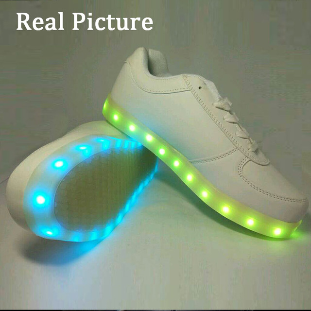 Spansee Big kids Mens Womens Glowing Sneakers Shoes with Light Up Luminous Sneakers Baskets Led Slippers Tenis LED Feminino De
