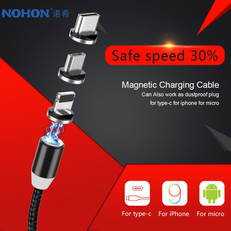 NOHON LED Magnetic 3 in 1 Charge Cable Micro USB Type C Lighting Fast Charger Cables For iPhone 8 7 Plus X Samsung Huawei Xiaomi