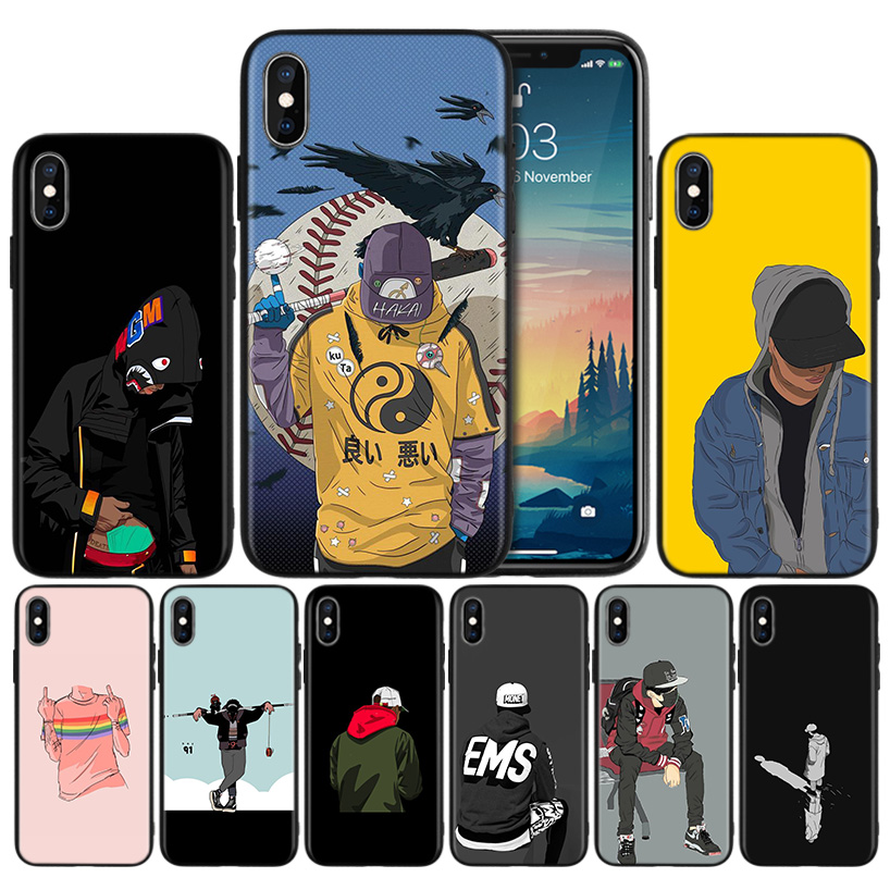 Hypebeast Wallpaper Soft TPU Black Silicone Case Cover for iPhone 7 8 XS Max XR X 6 6S 5 5C 5S