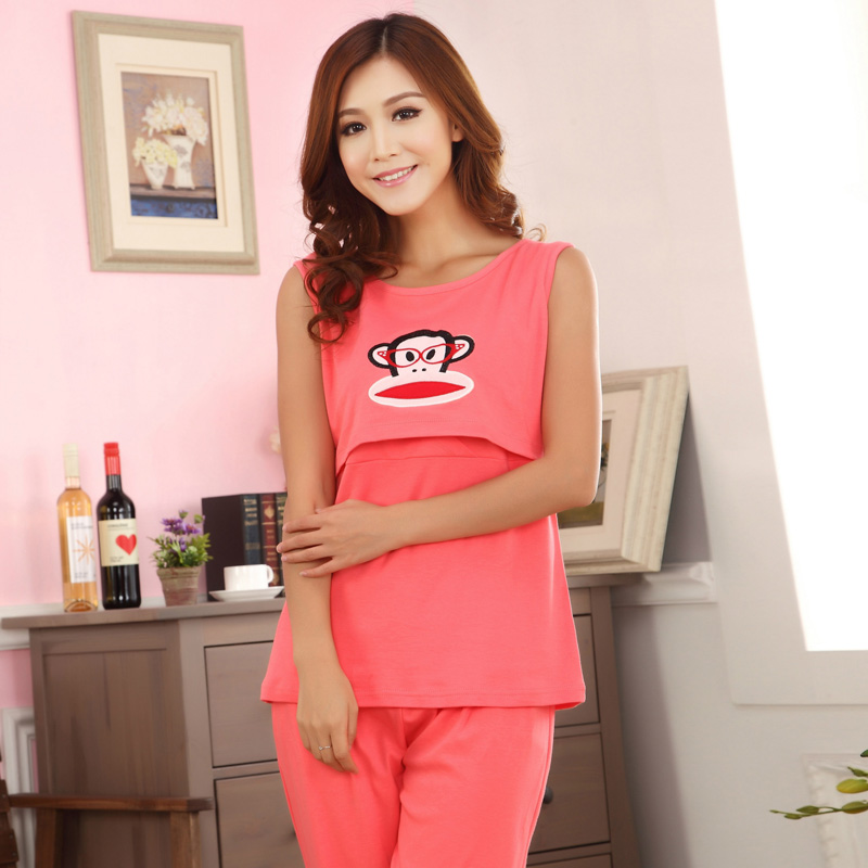 Maternity Summer Cotton Short Sleeved Cute Nursing Sleepwear 3Pcs ...