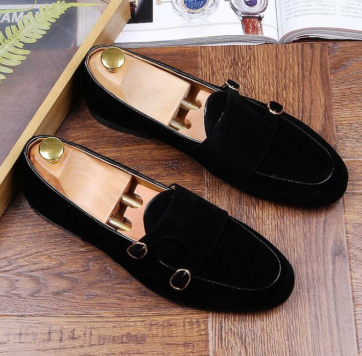 Mocassins Pontas Duplo Vestido Pic Camurça As 1 Chinelos monge Sapatos Homens Preto Flats Casamento De Toe 2 as Casuais Marrom rqrwBX