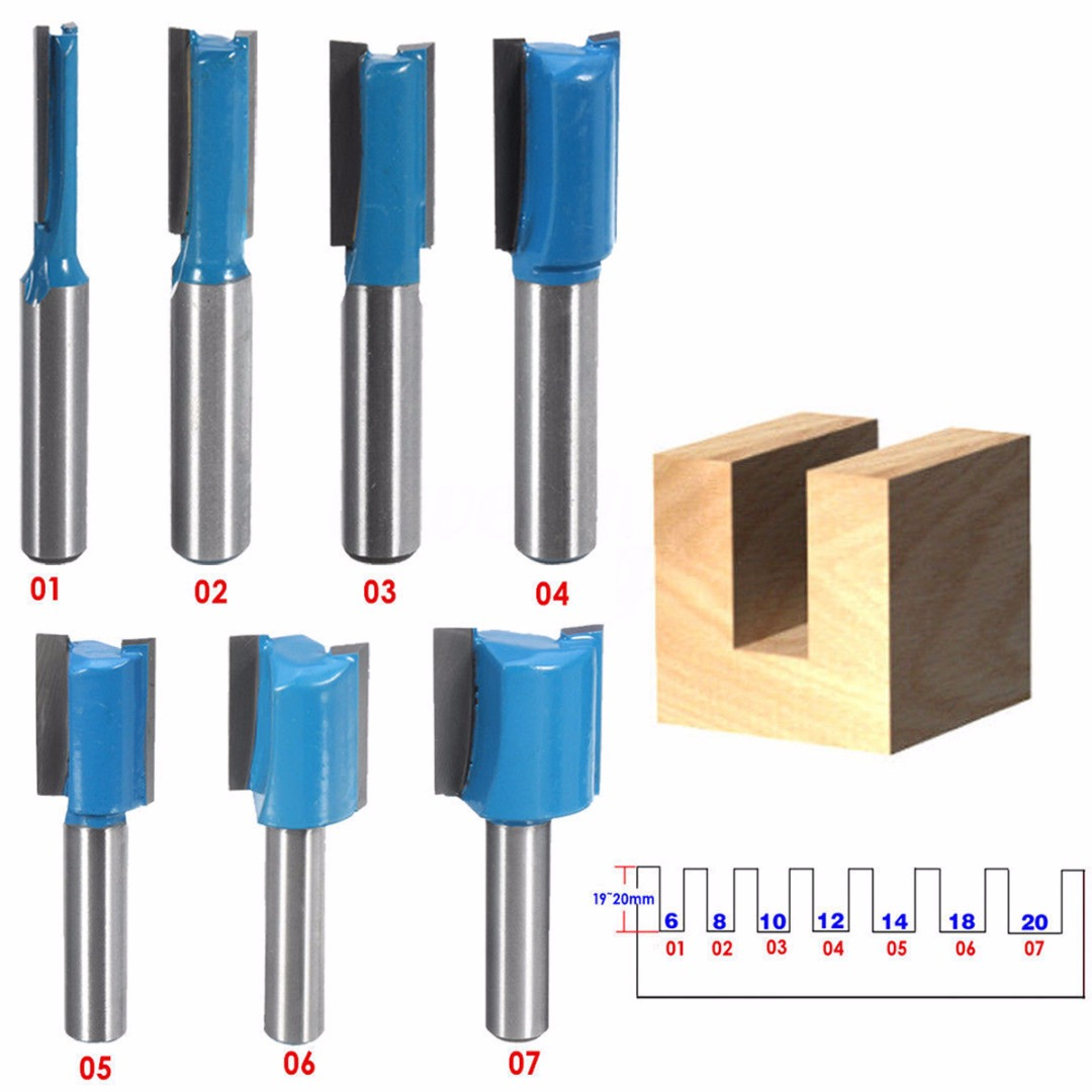 1PCS 8mm Shank Straight Woodworking Router Bit Set Carpenter Milling Cutter 6/8/10/12/14/18/20mm Cutting Diameter(China)